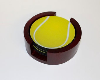 Limited Time Sale! Tennis Ball Coaster Set of 5 with Wood Holder