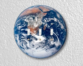 Planet Earth from Space Round Triple Toggle Switch Plate Cover