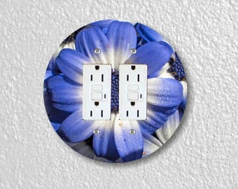Blue Daisy Flower Round Double GFI Grounded Outlet Plate Cover