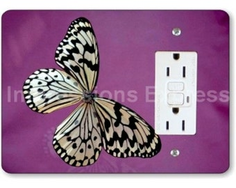 White Butterfly Insect GFI Grounded Outlet Plate Cover