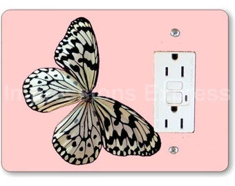 White Nymph Butterfly Pink GFI Grounded Outlet Plate Cover