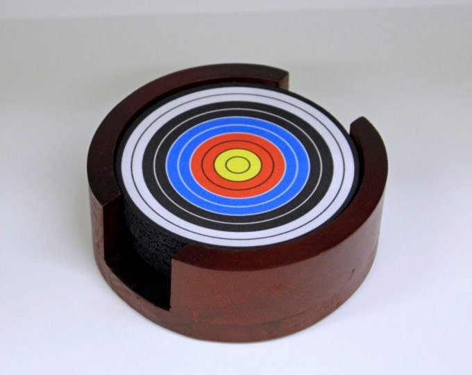 Featured listing image: Archery Target Coaster Set of 5 with Wood Holder