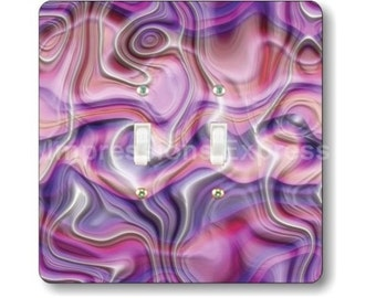 Purple Silk Ripple Square Double Toggle Light Switch Plate Cover