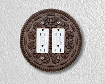 Chocolate Sandwich Cookie Round Double Grounded GFI Outlet Plate Cover