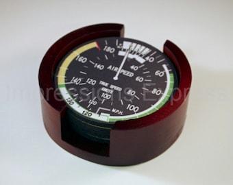 Aviation Airspeed Indicator Coaster Set of 5 with Wood Holder