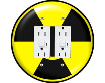 Radioactive Sign Double GFI Outlet Plate Cover