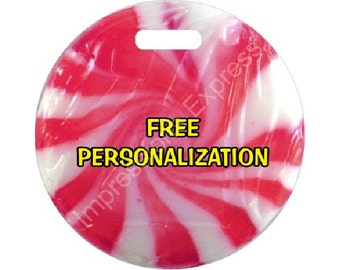 Peppermint Candy Personalized Luggage Bag Tag