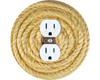 Nautical Sisal Rope Duplex Outlet Plate Cover