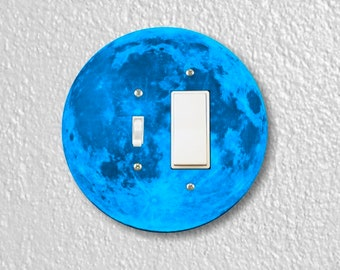 Blue Moon Round Toggle and Decora Rocker Switch Plate Cover