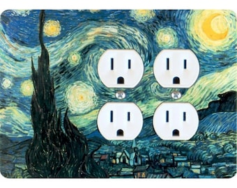 Starry Night Van Gogh Painting Double Duplex Outlet Plate Cover