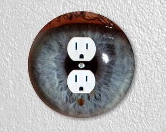 Eye Ball Round Duplex Outlet Plate Cover