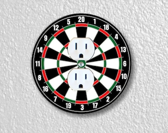 Darts Dartboard Round Duplex Outlet Plate Cover