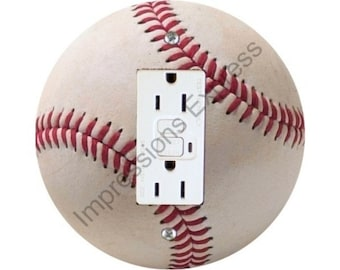 White Baseball GFI Outlet Plate Cover