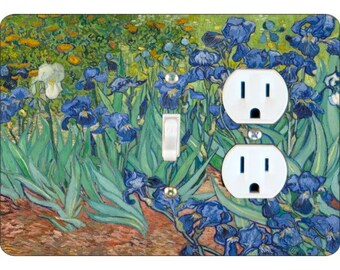 Van Gogh Irises Painting Toggle Switch and Duplex Outlet Double Plate Cover