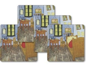 Vincent Van Gogh The Bedroom Painting Square Coasters - Set of 4