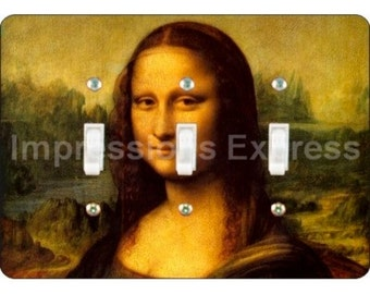 Mona Lisa Da Vinci Painting Triple Toggle Light Switch Plate Cover