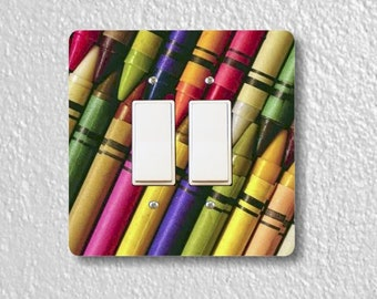 Colored Crayons Square Double Decora Rocker Light Switch Plate Cover