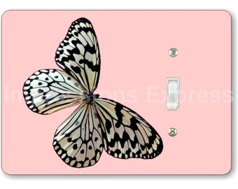 White Nymph Butterfly Pink Single Toggle Light Switch Plate Cover