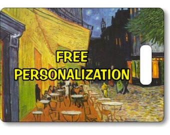 Café Terrace at Night Van Gogh Painting Personalized Rectangle Luggage Tote Bag Tag