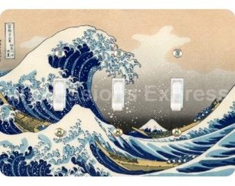 Kanagawa Great Wave Hokusai Painting Triple Toggle Light Switch Plate Cover