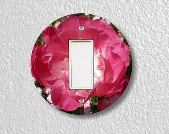 Double Tulip Flower Round Decora Rocker Light Switch Plate Cover