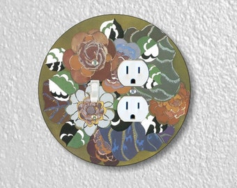 Floral Art Deco Art Nouveau Round Toggle Switch and Duplex Outlet Double Plate Cover