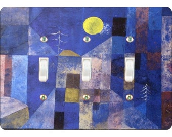 Paul Klee Moonlight Painting Triple Toggle Light Switch Plate Cover