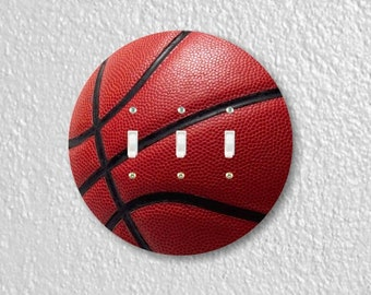 Burgundy Basketball Sport Round Triple Toggle Light Switch Plate Cover
