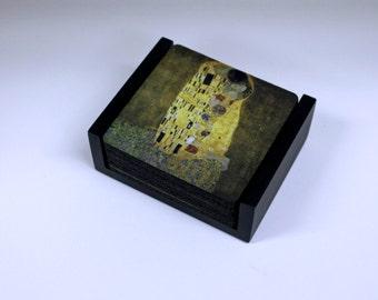 Gustav Klimt The Kiss Coaster Set of 5 with Wood Holder