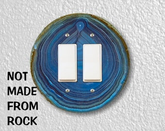 Blue Geode Stone Round Decora Double Rocker Switch Plate Cover