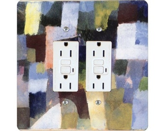 Paul Klee Painting Square Double Grounded GFI Outlet Plate Cover