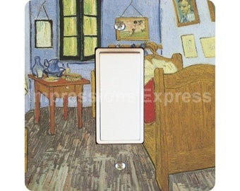 Vincent Van Gogh The Bedroom Painting Square Decora Rocker Light Switch Plate Cover