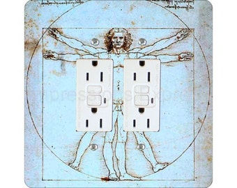 Vitruvian Man Da Vinci Drawing Square Double Grounded GFI Outlet Plate Cover