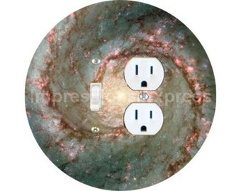 Whirlpool Galaxy Space Toggle Switch and Duplex Outlet Double Plate Cover