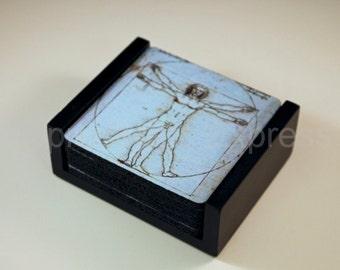 Vitruvian Man Da Vinci Drawing Coaster Set of 5 with Wood Holder