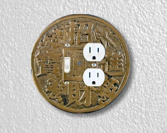 Chinese Fortune Coin Round Toggle Switch and Duplex Outlet Double Plate Cover