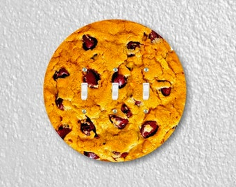 Chocolate Chip Cookie Round Triple Toggle Switch Plate Cover