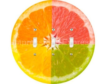 Funky Grapefruit Fruit Triple Toggle Switch Plate Cover