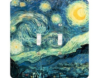 Vincent Van Gogh Starry Night Painting Square Double Toggle Light Switch Plate Cover