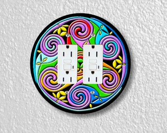 Celtic Triskel Round Double Grounded GFI Outlet Plate Cover