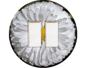 White Daisy Flower Decora Double Rocker Switch Plate Cover