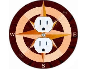 Nautical Compass Duplex Outlet Plate Cover
