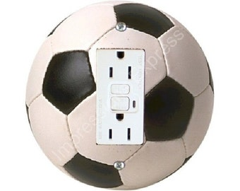 Soccer Sports Ball Grounded GFI Outlet Plate Cover A