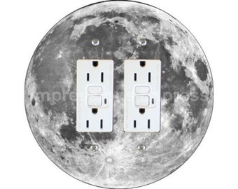 Moon from Space Double GFI Outlet Plate Cover