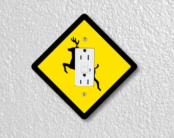 Deer Crossing Sign Diamond Shape Grounded GFI Outlet Plate Cover