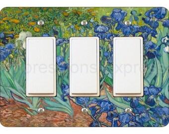 Van Gogh Irises Painting Triple Decora Rocker Light Switch Plate Cover