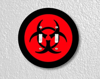 Biohazard Sign Round Double Toggle Switch Plate Cover