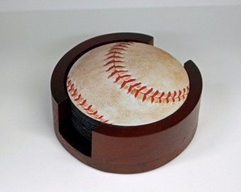 Baseball Ball Sport Round Coaster Set of 5 with Wood Holder
