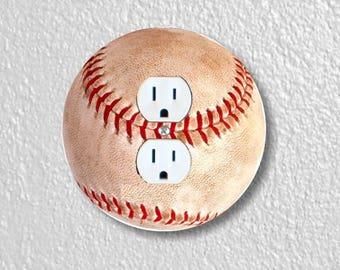 Baseball Ball Sport Round Duplex Outlet Plate Cover
