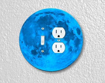 Blue Moon Round Toggle Switch and Duplex Outlet Double Plate Cover